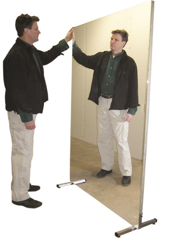 Fabrication Glassless mirror, stationary with stand, vertical, 16'' W x 48'' H