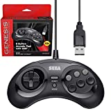 Retro-Bit Official Sega Genesis USB Controller 8-Button Arcade Pad for PC, Mac, Steam, RetroPie, Raspberry Pi - USB Port - Black