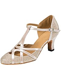 Womens T-strap Glitter Synthetic Salsa Tango Ballroom Latin Party Dance Shoes CM101