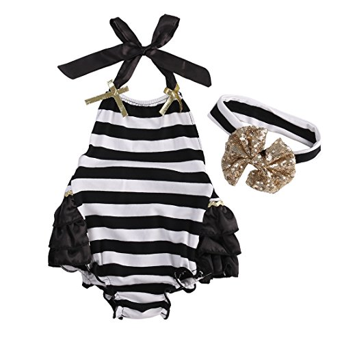 Playsuit Infants Striped - Newborn Kids Baby Girls Clothes Lace Jumpsuit Romper Playsuit + Headband Outfits (9-12 Months, Striped 2)