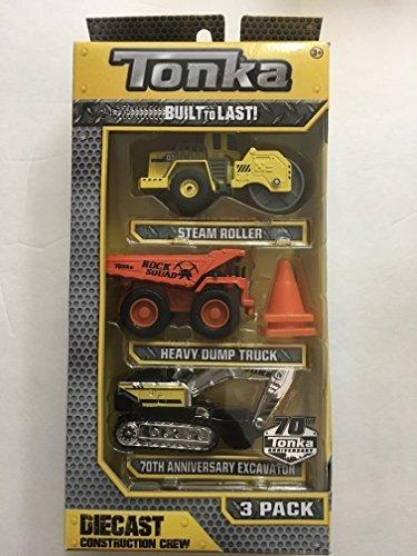 Tonka Die-Cast Construction Crew 3 Pack; Steam Roller, Heavy Dump Truck, 70th Anniversary Excavator - Diecast Dump