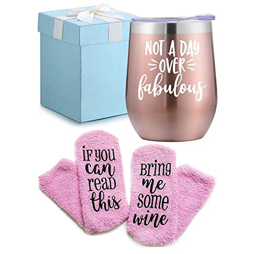 Wine Gifts Set for Women Wine Socks Gifts + Wine Tumbler with Funny Saying Not a Day Over Fabulous, Gift Baskets for Birthday Women, Mom, Grandma, Wife, Aunt, Daughter