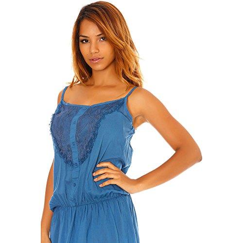 Miss Wear Line - Tunique longue bleu détails dentelle