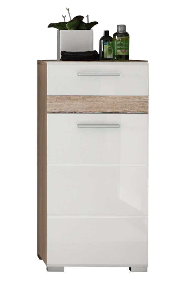 Furnline 1318-802-96 High Gloss Bathroom Side Cabinet Set One, White 1336-802-96