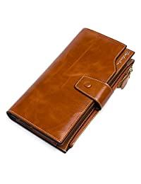BOSTANTEN Women's RFID Blocking Genuine Leather Wallet with Zipper Pocket Coffee