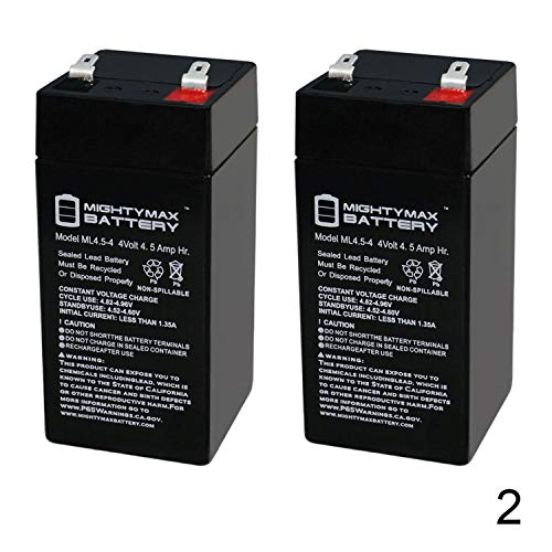 Mighty Max Battery 4 Volt 4.5 Ah Battery for Zareba 2 Mile Fence Solar Charger - 2 Pack Brand Product ()