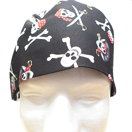 Scrub Cap Pirate Skulls, Handmade in USA, Large (Men), with Bamboo French Terry