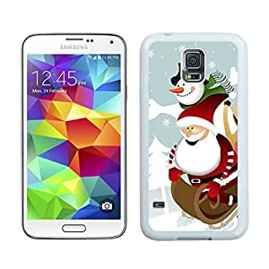 Custom-ized Cartoon Santa Claus with Snowman White Samsung Galaxy S5 Case 1