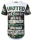 URBANTOPS Mens Hipster Hip Hop Splatter Camo Graphic Longline T-Shirt White, L