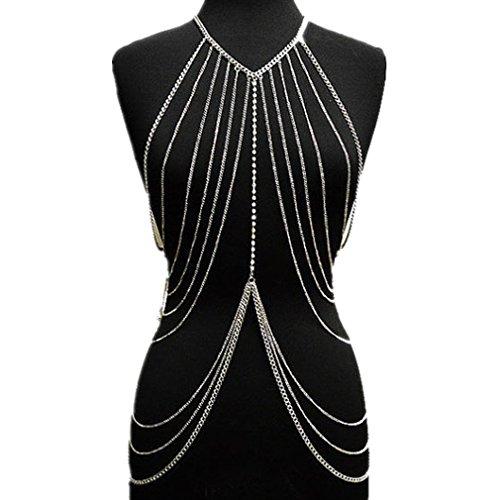 Women Alloy Multi-layer Diamond Necklace Body Lingerie Chain (silver) by Bear boys