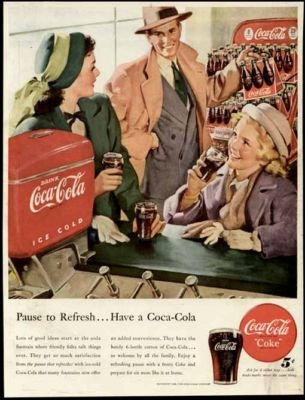 Great SODA Fountain Artwork in 1948 COCA-COLA Color AD Original Paper Ephemera Authentic Vintage Print Magazine Ad/Article