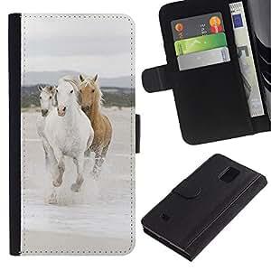 LASTONE PHONE CASE / Lujo Billetera de Cuero Caso del tirón Titular de la tarjeta Flip Carcasa Funda para Samsung Galaxy Note 4 SM-N910 / Beautiful Wild Horses