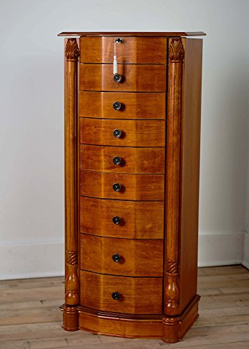 Oak Mirror Jewelry Armoire - Hives and Honey 'FLORENCE' Jewelry Armoire, Honey Oak