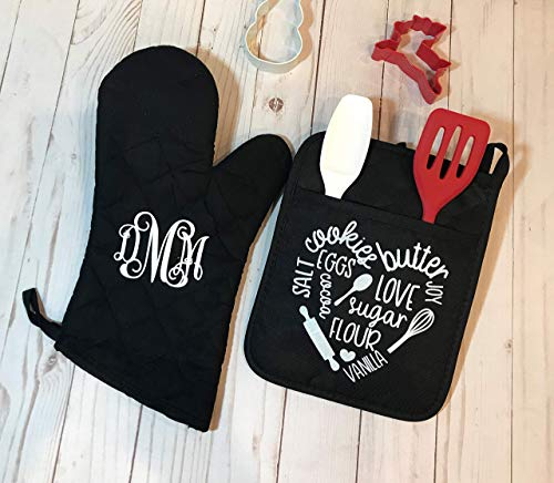 Personalized Oven Mitts - TOP SELLER! Personalized Pot Holder & Oven Mitt SET, Custom Pot Holders, Gift for Her, Housewarming Gift