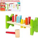 WOOMAX- Banco con figuras y martillo de madera (Colorbaby 40999)