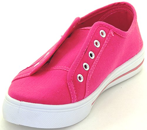 Plimsoll Color Flat Sneakers Round Breathable Multi Shoes Womens Pink Canvas Toe q4pPwn0
