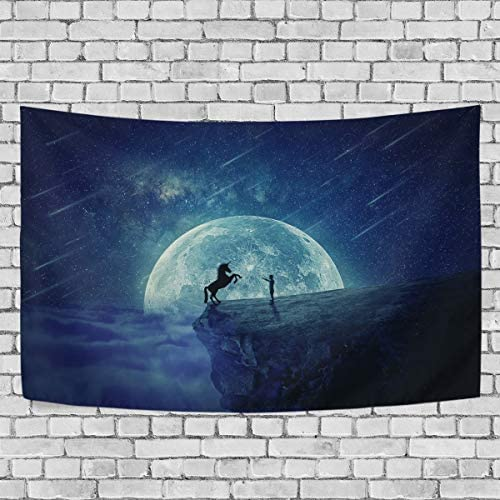 (VAWA) タペストリー 壁掛け おしゃれ ユニコーン 馬柄 星空 月柄 クリスマス飾り 装飾布 ハロウィンデコレーション インテリア 部屋 窓 大型 プレゼント 203x152cm