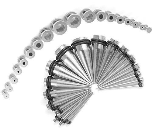 Taper Kit 36 Pieces Stainless Steel Screw Fit Plugs 14G-00G Taper Stretching Kit - Stretching Taper Plug
