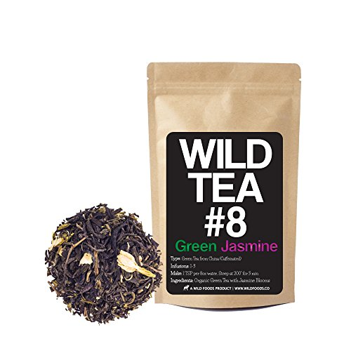 Green Jasmine Tea, Wild Tea #8 Premium Loose Leaf Green Tea with Jasmine - Organically Grown (4 ounce)