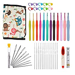 Katech 46 Pieces of Knitting Accessories Ergonomic Handle Crochet Hooks Set Aluminum Alloy Knitting Needles Yarn Stitch Kit DIY Craft Art Sewing Weave Set Tools with A Storage Case