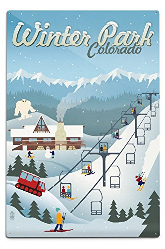 Winter Park, Colorado - Retro Ski Resort ( Aluminum Wall Sign, Wall