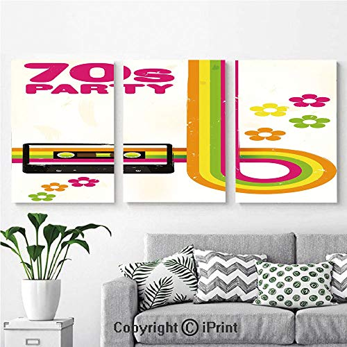 Wall Art Decor 3 Pcs High Definition Printing Party Flyer Inspired Cute Curved Stripes Daisies Audio Cassette Tape Decorative Painting Home Decoration Living Room Bedroom Background,16