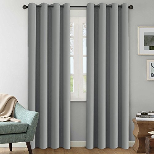 H.Versailtex Blackout Room Darkening Curtains / Window Panel Drapes - (Grey Color) - 2 Panels - 52 inch Wide by 84 inch Long Solid Dove Gray Pattern,Grommet Top (Gray Pattern)