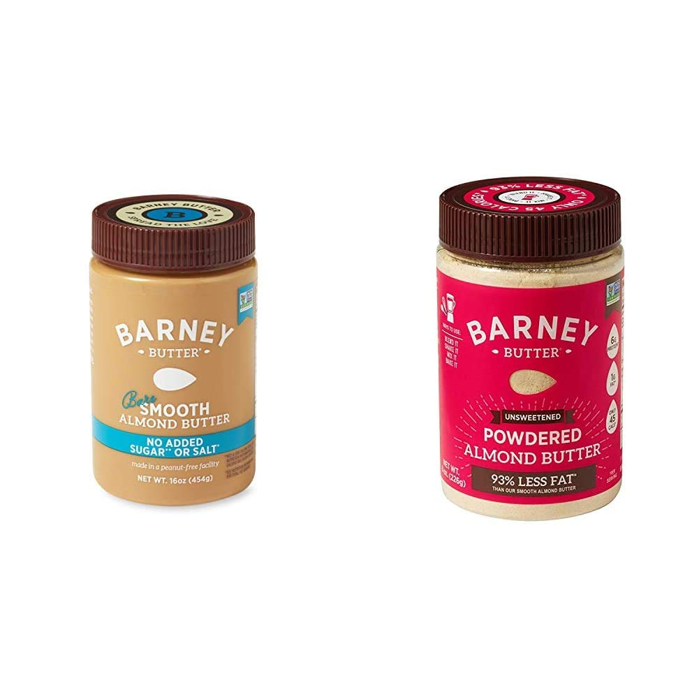 BARNEY Almond Butter, Bare Smooth, No Sugar No Salt, Paleo, KETO, Non-GMO, Skin-Free, 16 Ounce & Powdered Almond Butter, Unsweetened, Paleo, KETO, Non-GMO, Skin-Free, 8 Ounce
