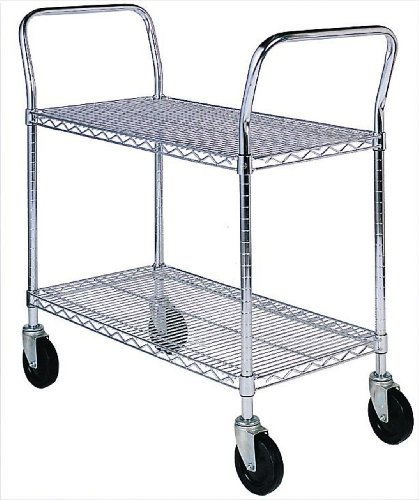 SPG-MA-Steel-Wire-Service-Cart-with-Rubber-Caster-2-Shelves-Zinc-Coated-800-lbs-Load-Capacity-41-Height