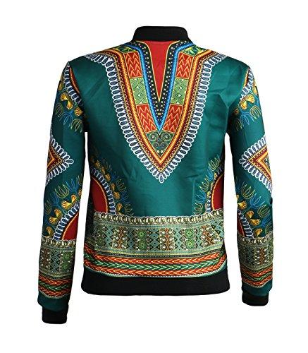 Playworld Women's Long Sleeve Print Dashiki Ethnic Style Africa Baseball Jacket,Green,Medium by Playworld (Image #5)