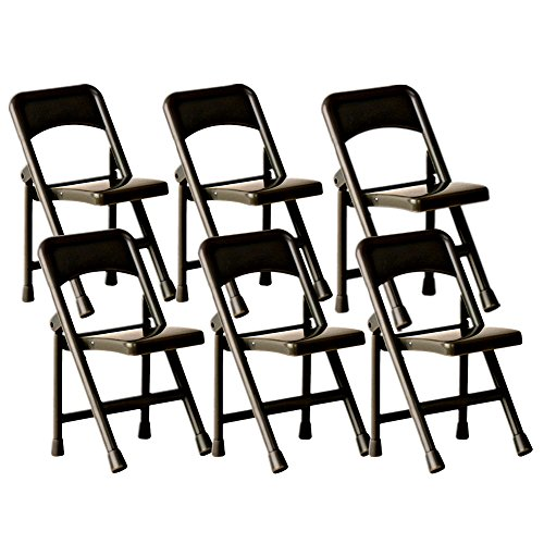 Black Plastic Toy Folding Chairs for WWE Wrestling Action Figures (Set of 6) by Figures Toy Company