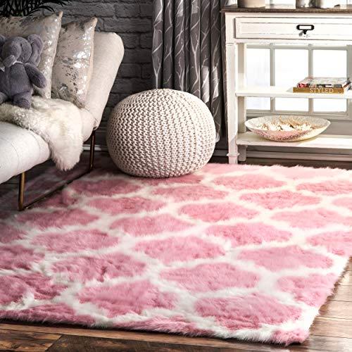 Shag Rug Acrylic - nuLOOM Trellis Faux Sheepskin Soft & Plush Shag Rug, 4' x 6', Pink