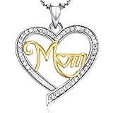 "Mother's Day Birthday Gifts for Her - ""MOM"" Heart Pendant Necklace - Fashion Jewelry Gifts for Women, 18"""