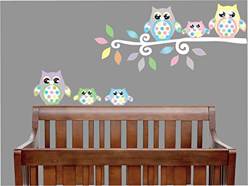 Match Polka Dot Wallpaper (Owl Wall Decals with Polka Dots / Owl Wall Stickers / Woodland Forest Animal Owl Nursery Decor (Multicolored Owls With Dots))