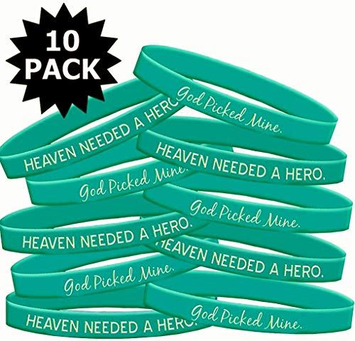 Fight Like a Girl Heaven Needed a Hero God Picked Mine Ovarian Cancer Wristband Bracelet 10-Pack ()