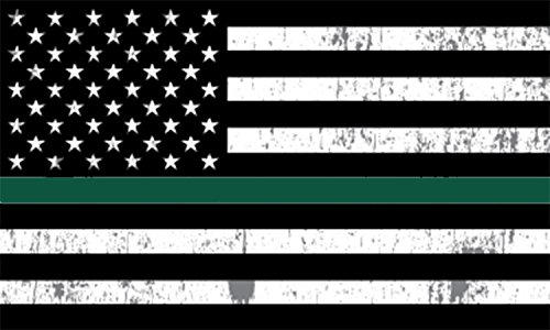 Thin Green Line Thank You USA Flag Car Decal Window Bumper Sticker Support for Army Military Sheriffs Federal Agents Border Patrol Park Rangers Game Wardens Wildlife Conservation Environment Flag ()