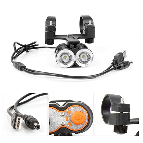 Fahrradlampe 2 LED Wasserdichte Frontlicht 4 Licht-Modul Scheinwerfer CREE XML T6 Aluminium Fahrradbeleuchtung für Berg-Radfahren,Camping von WEINAS