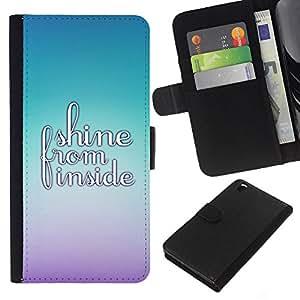- QUOTE SHINE MOTIVATIONAL BRIGHT INSIDE - - Prima caja de la PU billetera de cuero con ranuras para tarjetas, efectivo desmontable correa para l Funny House FOR HTC DESIRE 816