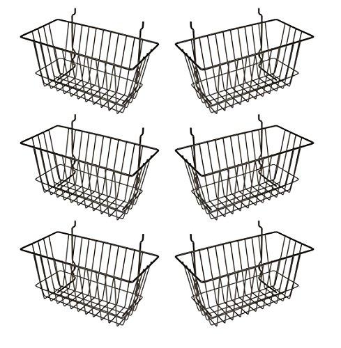 Econoco - Black Multi-Fit Narrow Wire Basket for Slatwall, Pegboard or Gridwall (Set of 6) Metal Semi-Gloss Basket, Black