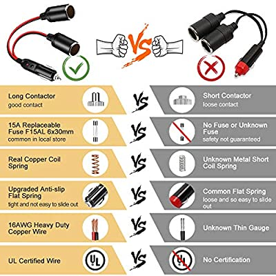 Car Cigarette Lighter Splitter Adapter 2 Socket, Electop 1 to 2 DC 12V 24V Cigarette Lighter Power Charger Port 2-Way Splitter, 5 inch 16AWG Extension Cord Cable UL Wire with 15A Fuses: Automotive