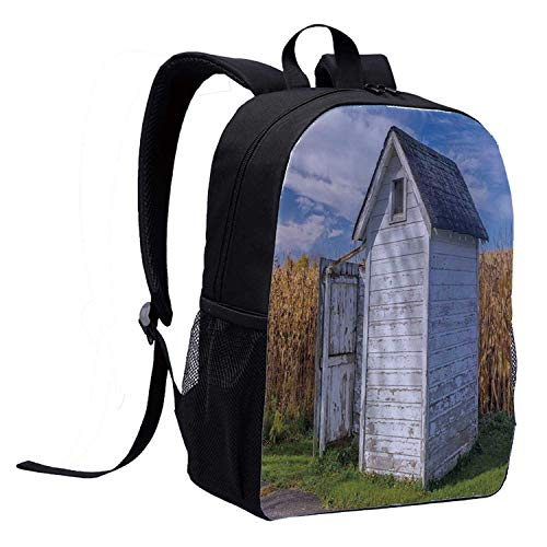 Outhouse Mini Backpack,Country Farm Life Cottage with Wheat and Grass Under Sky Image for Woman,12