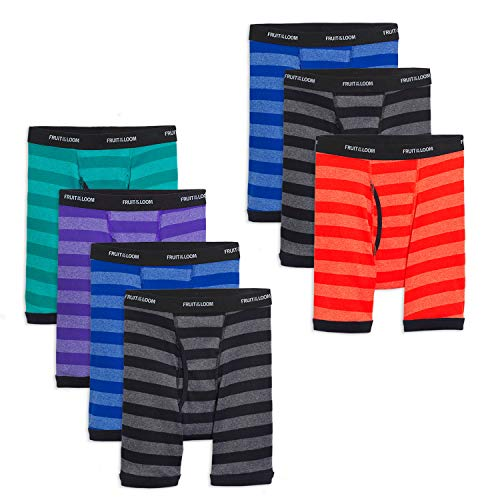 Fruit of the Loom Boys' Boxer Brief, Exposed and Covered Waistband, Stripes - Assorted (Pack of 7), X-Large ()