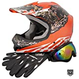 HHH DOT Youth & Kids Helmet for Dirtbike ATV Motocross MX Offroad Motorcyle Street bike ORANGE CAMO + WITH FREE GLOVES AND GOGGLES (Medium)