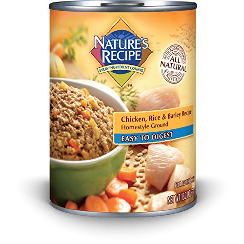By Nature Chicken Dog Food (Nature's Recipe Canned Dog Food for Adult Dog, Easy to Digest Chicken, Rice, and Barley Recipe, Homestyle Ground, 13.2 Ounce Cans (Pack of 12))