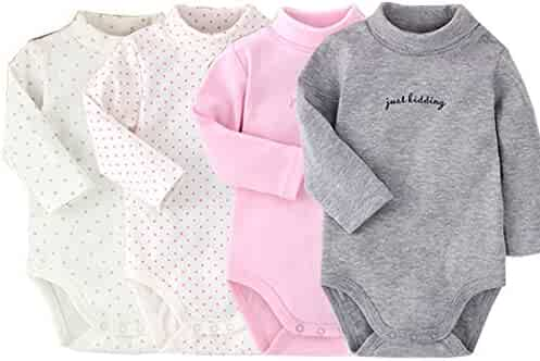 e4e05196d Infant Baby Boys Girls Long Sleeves Onesies Cotton Turtle-Neck Bodysuit  Fall Winter Cloths Outfit