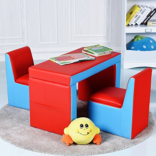 Costzon Kids Sofa, 2-IN-1 Multi-Functional Kids Table & Chair Set, 2 Seat Couch With Storage Box for Boys & Girls by Costzon