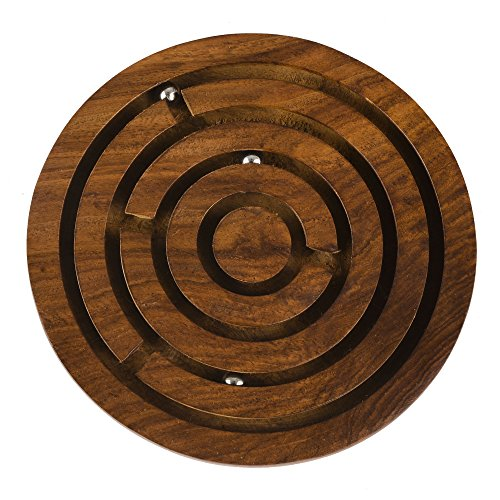 Rusticity Indian Handmade Wooden Circular Labyrinth Maze Puzzle Board Game w/ 3 Metal Balls/ Traditional Sheesham Challenging Education Game for Kids, Adults, Teens, Boy & Girl Child, 5 x 5 in