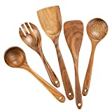 Wooden Cooking Utensils for Kitchen, Organic Wooden Spoons For Cooking Tools for Nonstick Cookware,100% Handmade By Natural Teak Wood Without Any...