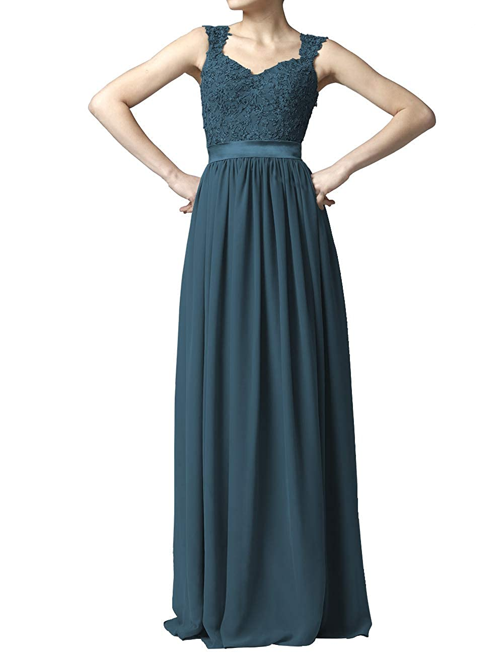 Teal Women' Cap Sleeve Lace Bridesmaid Dresses Long Wedding Party Gowns