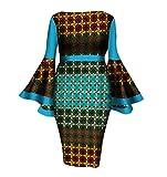 Abetteric Womens African Print Cotton Dashiki Flare Sleeve Vogue Cocktail Gowns 4 2XL